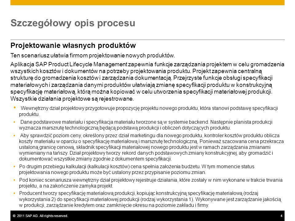 ©2011 SAP AG. All rights reserved.4 Szczegółowy opis procesu Projektowanie własnych produktów Ten scenariusz ułatwia firmom projektowanie nowych produ