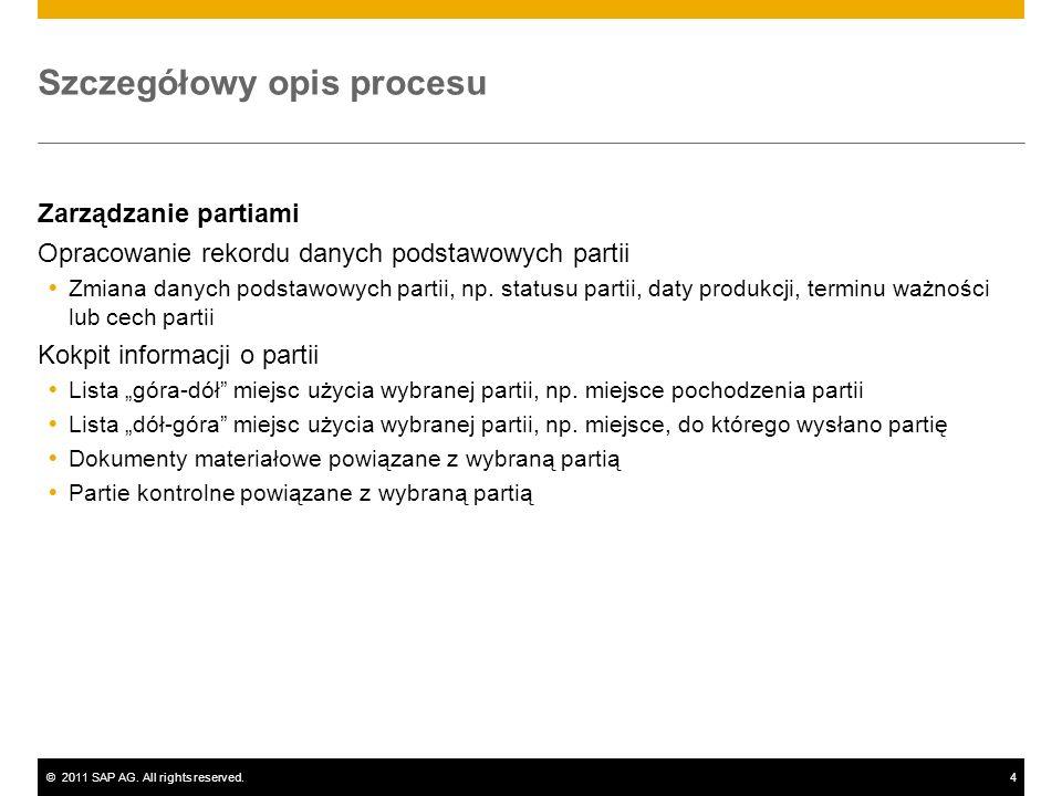 ©2011 SAP AG. All rights reserved.4 Szczegółowy opis procesu Zarządzanie partiami Opracowanie rekordu danych podstawowych partii Zmiana danych podstaw