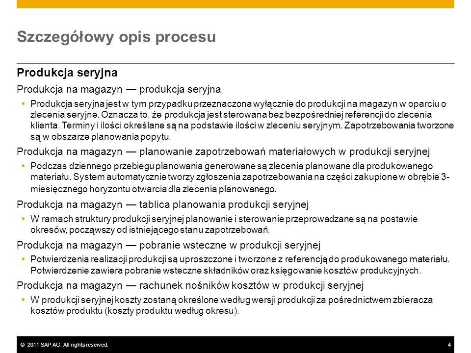 ©2011 SAP AG. All rights reserved.4 Szczegółowy opis procesu Produkcja seryjna Produkcja na magazyn produkcja seryjna Produkcja seryjna jest w tym prz