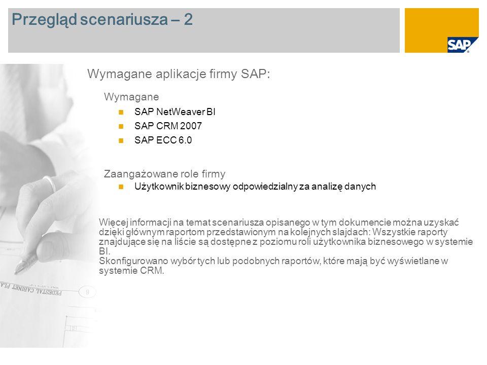 Przegląd scenariusza – 2 Wymagane SAP NetWeaver BI SAP CRM 2007 SAP ECC 6.0 Zaangażowane role firmy Użytkownik biznesowy odpowiedzialny za analizę danych Wymagane aplikacje firmy SAP: Więcej informacji na temat scenariusza opisanego w tym dokumencie można uzyskać dzięki głównym raportom przedstawionym na kolejnych slajdach: Wszystkie raporty znajdujące się na liście są dostępne z poziomu roli użytkownika biznesowego w systemie BI.