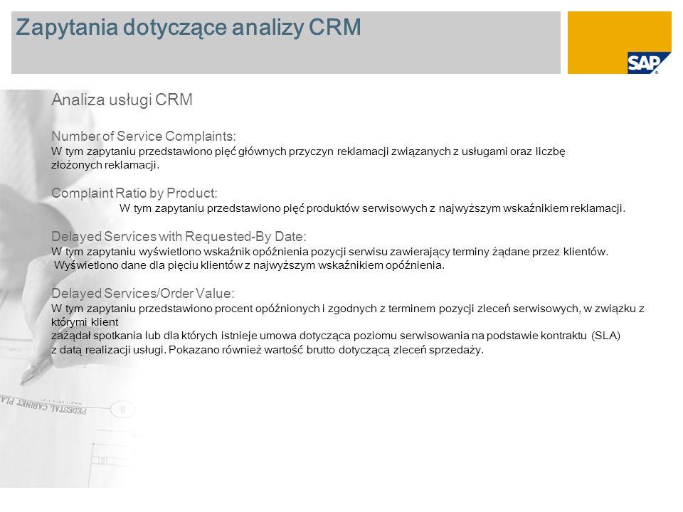 Zapytania dotyczące analizy CRM Analiza usługi CRM Number of Service Complaints: W tym zapytaniu przedstawiono pięć głównych przyczyn reklamacji związanych z usługami oraz liczbę złożonych reklamacji.