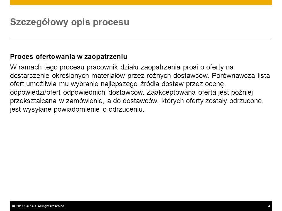 ©2011 SAP AG. All rights reserved.4 Szczegółowy opis procesu Proces ofertowania w zaopatrzeniu W ramach tego procesu pracownik działu zaopatrzenia pro