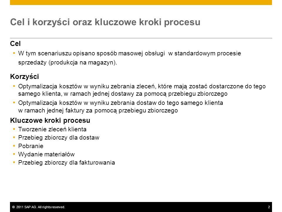 ©2011 SAP AG. All rights reserved.2 Cel i korzyści oraz kluczowe kroki procesu Cel W tym scenariuszu opisano sposób masowej obsługi w standardowym pro