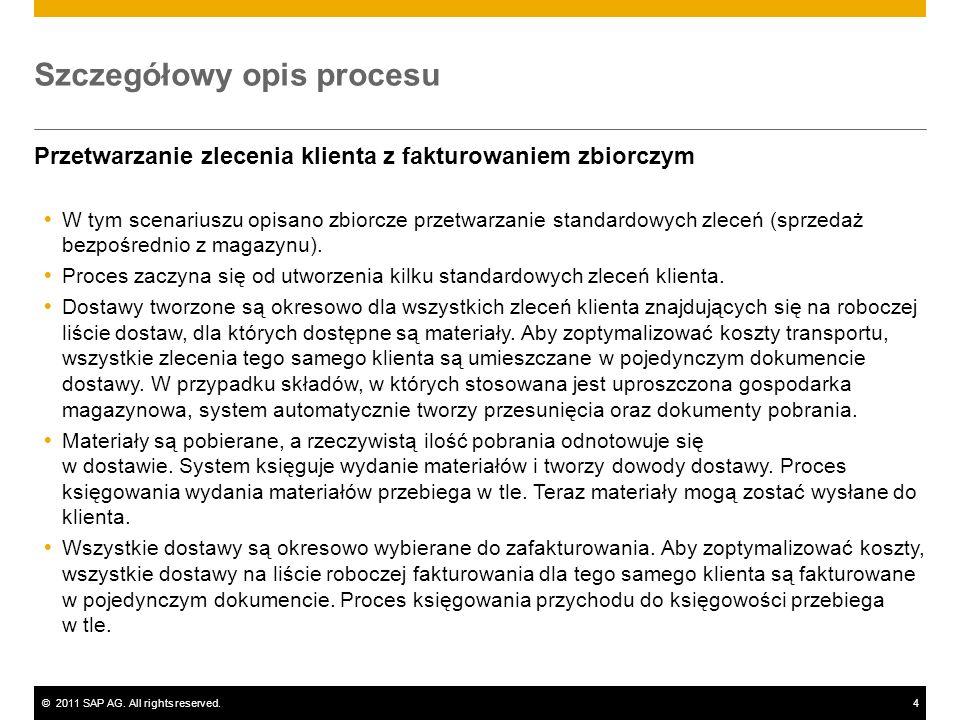 ©2011 SAP AG. All rights reserved.4 Szczegółowy opis procesu Przetwarzanie zlecenia klienta z fakturowaniem zbiorczym W tym scenariuszu opisano zbiorc
