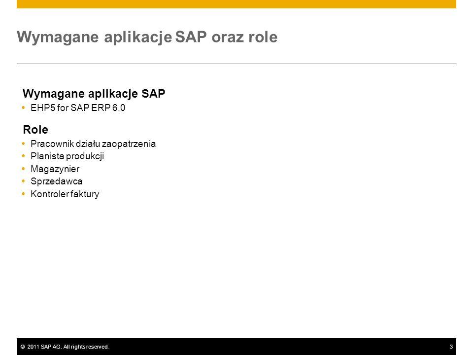 ©2011 SAP AG. All rights reserved.3 Wymagane aplikacje SAP oraz role Wymagane aplikacje SAP EHP5 for SAP ERP 6.0 Role Pracownik działu zaopatrzenia Pl