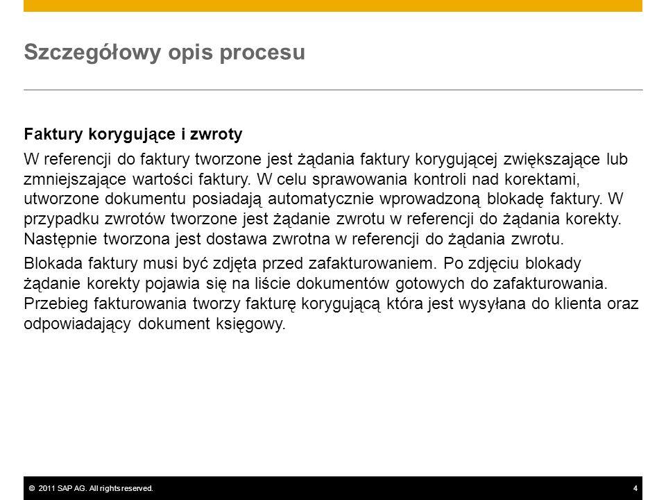 ©2011 SAP AG. All rights reserved.4 Szczegółowy opis procesu Faktury korygujące i zwroty W referencji do faktury tworzone jest żądania faktury koryguj