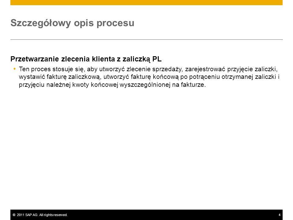 ©2011 SAP AG. All rights reserved.4 Szczegółowy opis procesu Przetwarzanie zlecenia klienta z zaliczką PL Ten proces stosuje się, aby utworzyć zleceni