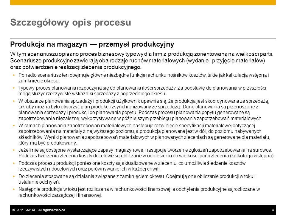 ©2011 SAP AG. All rights reserved.4 Szczegółowy opis procesu Produkcja na magazyn przemysł produkcyjny W tym scenariuszu opisano proces biznesowy typo