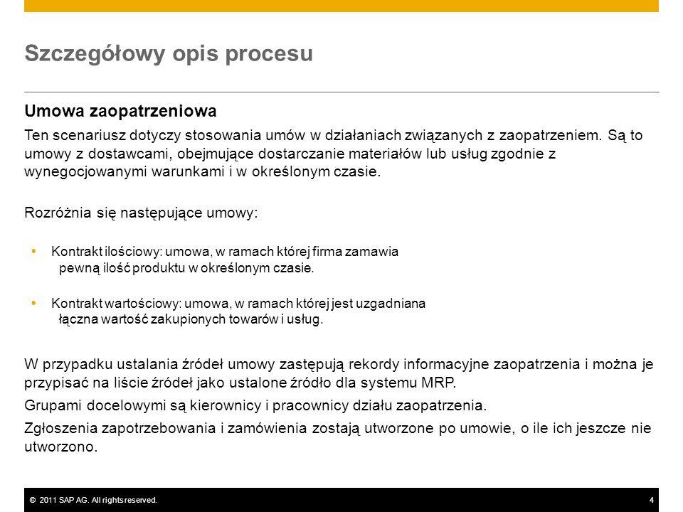 ©2011 SAP AG. All rights reserved.4 Szczegółowy opis procesu Umowa zaopatrzeniowa Ten scenariusz dotyczy stosowania umów w działaniach związanych z za