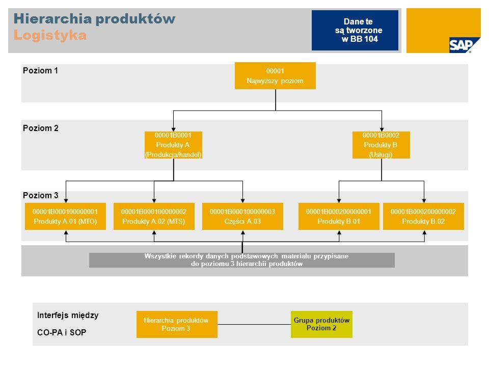 Hierarchia produktów Logistyka 00001 Najwyższy poziom 00001B0001 Produkty A (Produkcja/handel) 00001B0002 Produkty B (Usługi) 00001B000100000001 Produ