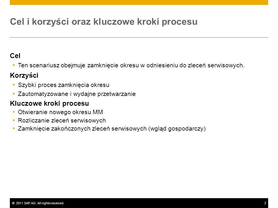 ©2011 SAP AG. All rights reserved.2 Cel i korzyści oraz kluczowe kroki procesu Cel Ten scenariusz obejmuje zamknięcie okresu w odniesieniu do zleceń s