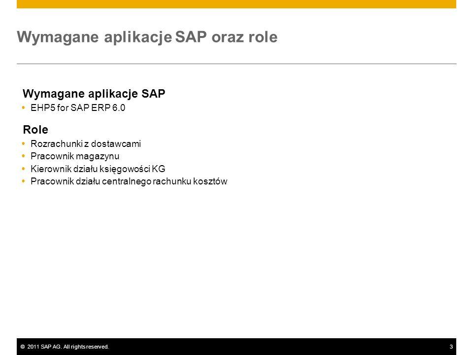 ©2011 SAP AG. All rights reserved.3 Wymagane aplikacje SAP oraz role Wymagane aplikacje SAP EHP5 for SAP ERP 6.0 Role Rozrachunki z dostawcami Pracown