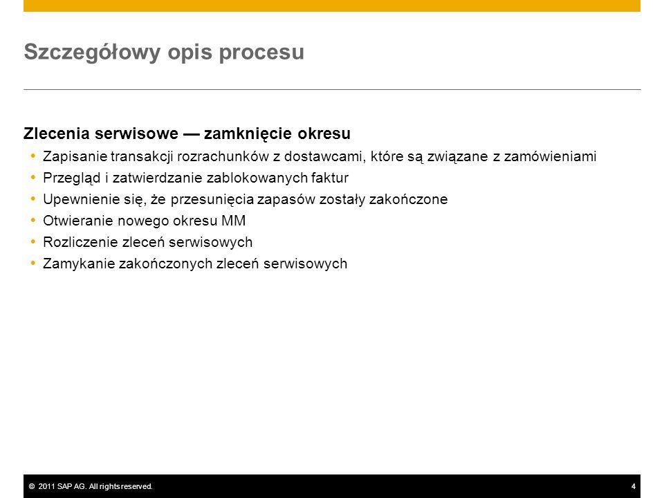 ©2011 SAP AG. All rights reserved.4 Szczegółowy opis procesu Zlecenia serwisowe zamknięcie okresu Zapisanie transakcji rozrachunków z dostawcami, któr