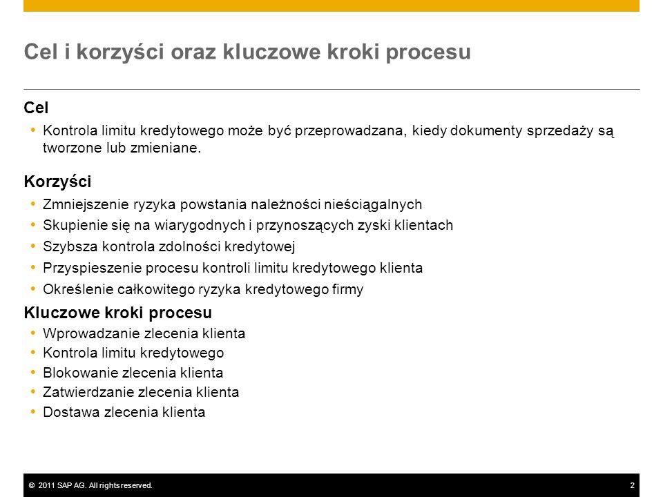 ©2011 SAP AG. All rights reserved.2 Cel i korzyści oraz kluczowe kroki procesu Cel Kontrola limitu kredytowego może być przeprowadzana, kiedy dokument