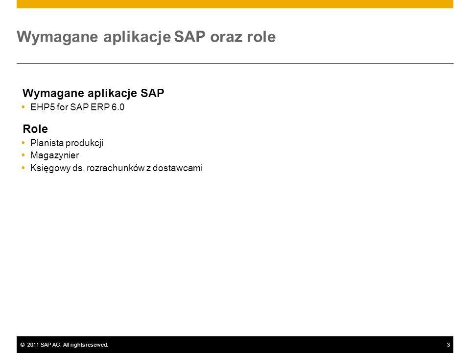 ©2011 SAP AG. All rights reserved.3 Wymagane aplikacje SAP oraz role Wymagane aplikacje SAP EHP5 for SAP ERP 6.0 Role Planista produkcji Magazynier Ks