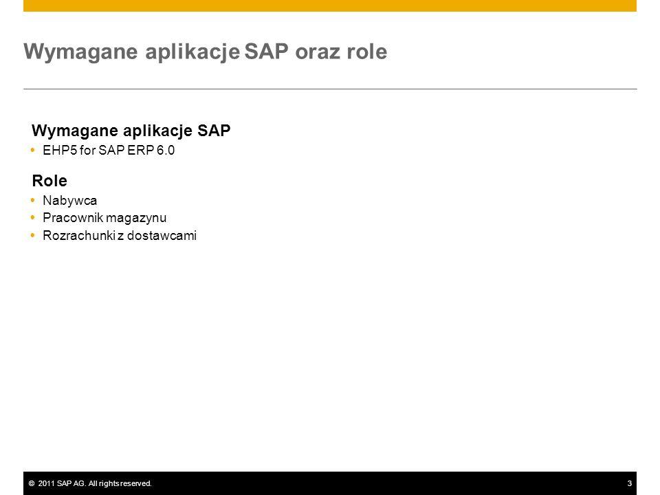 ©2011 SAP AG. All rights reserved.3 Wymagane aplikacje SAP oraz role Wymagane aplikacje SAP EHP5 for SAP ERP 6.0 Role Nabywca Pracownik magazynu Rozra