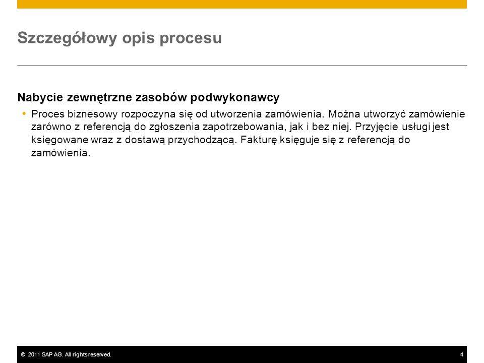©2011 SAP AG. All rights reserved.4 Szczegółowy opis procesu Nabycie zewnętrzne zasobów podwykonawcy Proces biznesowy rozpoczyna się od utworzenia zam