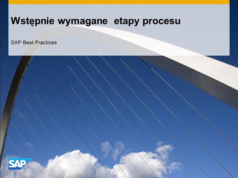 Wstępnie wymagane etapy procesu SAP Best Practices