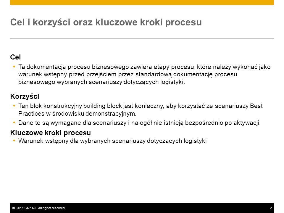 ©2011 SAP AG. All rights reserved.2 Cel i korzyści oraz kluczowe kroki procesu Cel Ta dokumentacja procesu biznesowego zawiera etapy procesu, które na