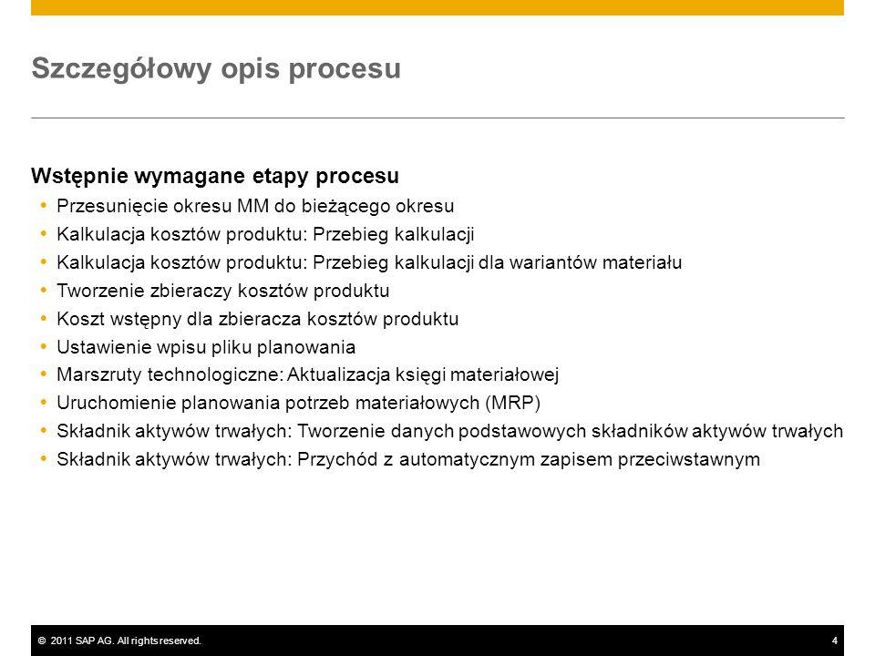 ©2011 SAP AG. All rights reserved.4 Szczegółowy opis procesu Wstępnie wymagane etapy procesu Przesunięcie okresu MM do bieżącego okresu Kalkulacja kos