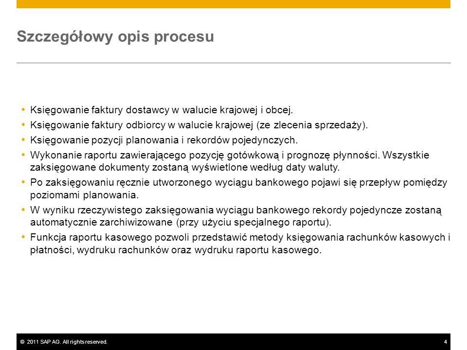 ©2011 SAP AG. All rights reserved.4 Szczegółowy opis procesu Księgowanie faktury dostawcy w walucie krajowej i obcej. Księgowanie faktury odbiorcy w w