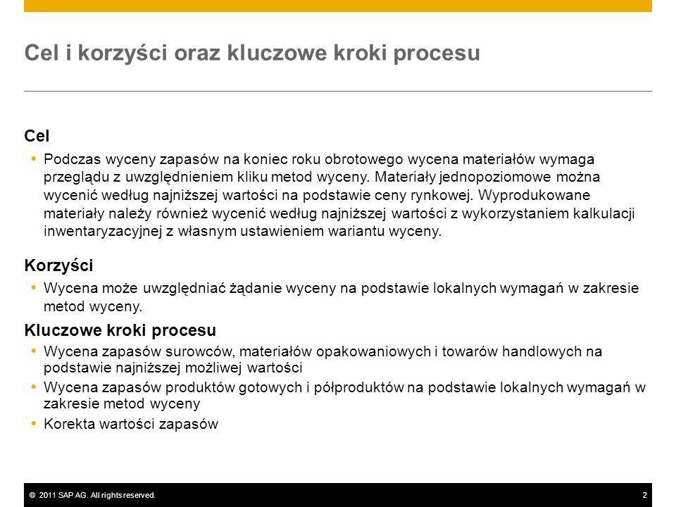 ©2011 SAP AG. All rights reserved.2 Cel i korzyści oraz kluczowe kroki procesu Cel Podczas wyceny zapasów na koniec roku obrotowego wycena materiałów