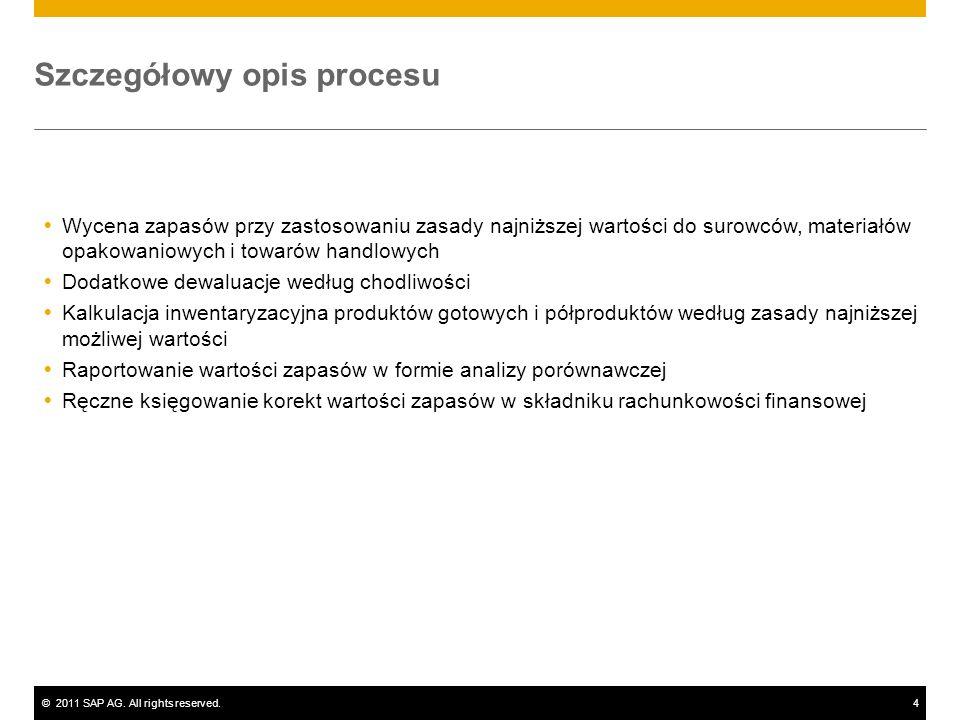 ©2011 SAP AG. All rights reserved.4 Szczegółowy opis procesu Wycena zapasów przy zastosowaniu zasady najniższej wartości do surowców, materiałów opako