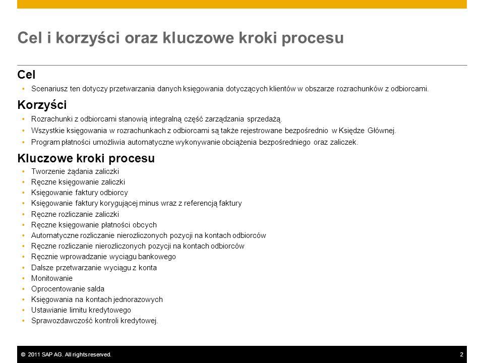 ©2011 SAP AG. All rights reserved.2 Cel i korzyści oraz kluczowe kroki procesu Cel Scenariusz ten dotyczy przetwarzania danych księgowania dotyczących