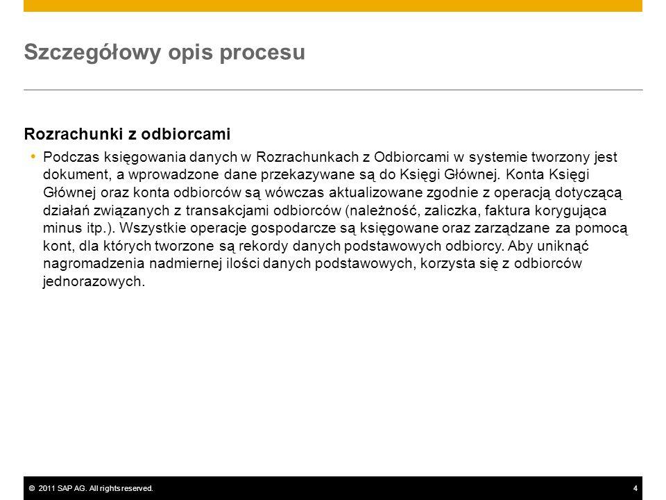 ©2011 SAP AG. All rights reserved.4 Szczegółowy opis procesu Rozrachunki z odbiorcami Podczas księgowania danych w Rozrachunkach z Odbiorcami w system