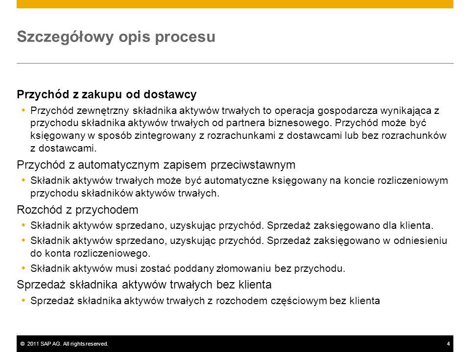 ©2011 SAP AG. All rights reserved.4 Szczegółowy opis procesu Przychód z zakupu od dostawcy Przychód zewnętrzny składnika aktywów trwałych to operacja
