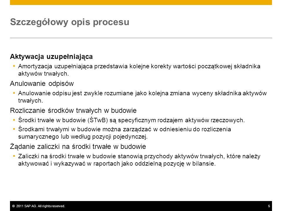 ©2011 SAP AG. All rights reserved.5 Szczegółowy opis procesu Aktywacja uzupełniająca Amortyzacja uzupełniająca przedstawia kolejne korekty wartości po