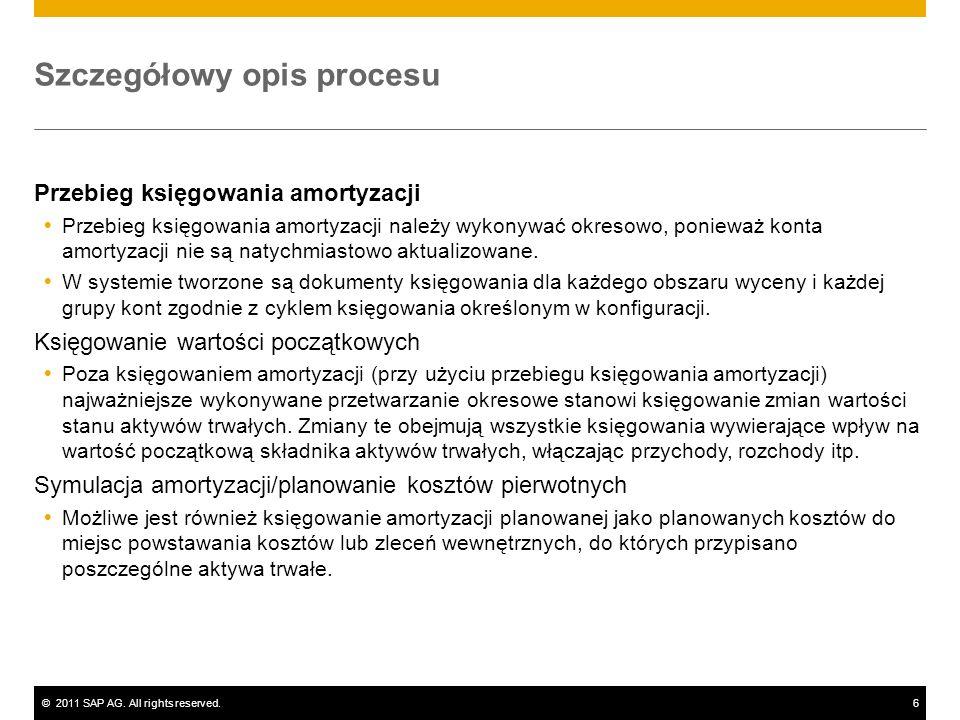 ©2011 SAP AG. All rights reserved.6 Szczegółowy opis procesu Przebieg księgowania amortyzacji Przebieg księgowania amortyzacji należy wykonywać okreso