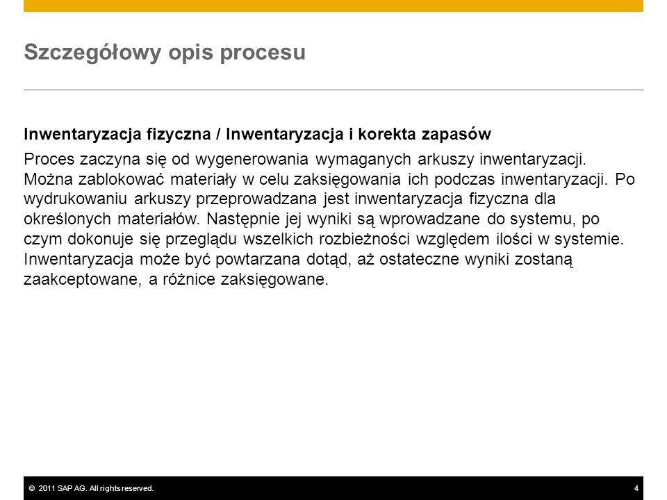 ©2011 SAP AG. All rights reserved.4 Szczegółowy opis procesu Inwentaryzacja fizyczna / Inwentaryzacja i korekta zapasów Proces zaczyna się od wygenero