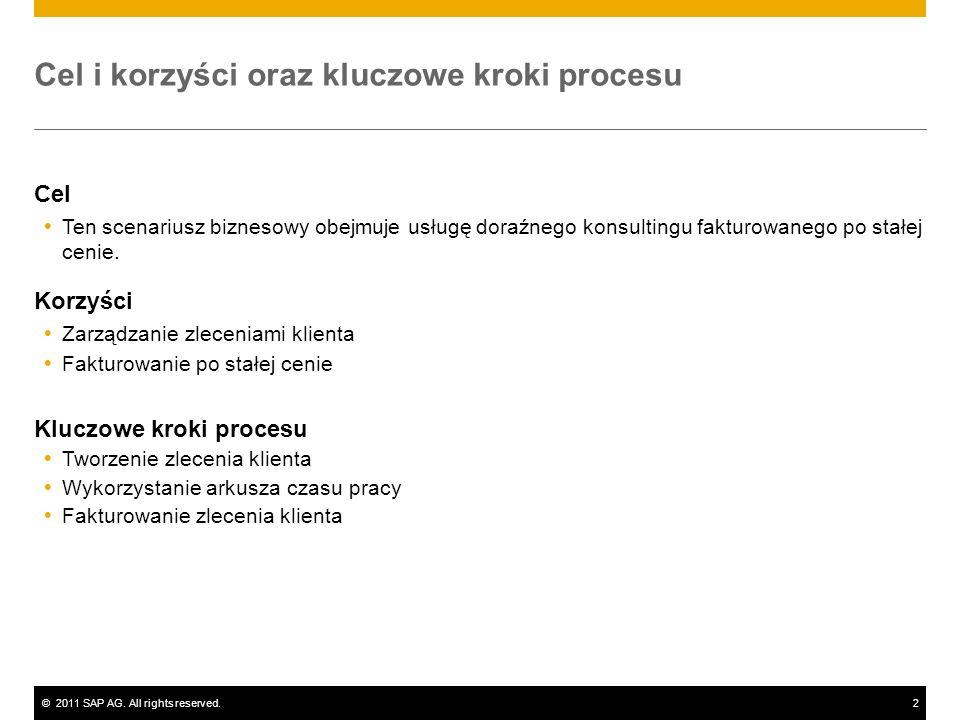 ©2011 SAP AG. All rights reserved.2 Cel i korzyści oraz kluczowe kroki procesu Cel Ten scenariusz biznesowy obejmuje usługę doraźnego konsultingu fakt