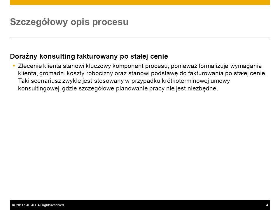 ©2011 SAP AG. All rights reserved.4 Szczegółowy opis procesu Doraźny konsulting fakturowany po stałej cenie Zlecenie klienta stanowi kluczowy komponen