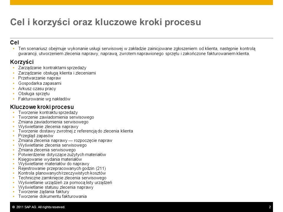 ©2011 SAP AG. All rights reserved.2 Cel i korzyści oraz kluczowe kroki procesu Cel Ten scenariusz obejmuje wykonanie usługi serwisowej w zakładzie zai