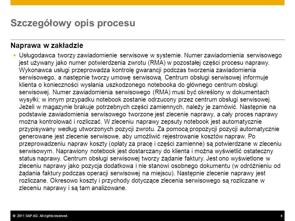 ©2011 SAP AG. All rights reserved.4 Szczegółowy opis procesu Naprawa w zakładzie Usługodawca tworzy zawiadomienie serwisowe w systemie. Numer zawiadom