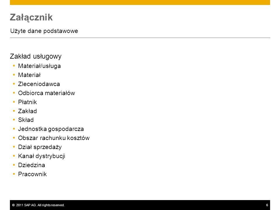©2011 SAP AG. All rights reserved.6 Załącznik Użyte dane podstawowe Zakład usługowy Materiał/usługa Materiał Zleceniodawca Odbiorca materiałów Płatnik