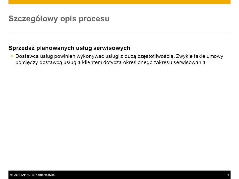 ©2011 SAP AG. All rights reserved.4 Szczegółowy opis procesu Sprzedaż planowanych usług serwisowych Dostawca usług powinien wykonywać usługi z dużą cz