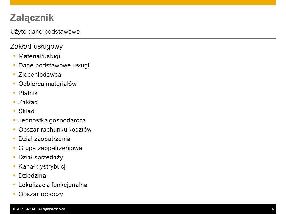 ©2011 SAP AG. All rights reserved.6 Załącznik Użyte dane podstawowe Zakład usługowy Materiał/usługi Dane podstawowe usługi Zleceniodawca Odbiorca mate