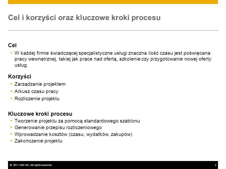 ©2011 SAP AG. All rights reserved.2 Cel i korzyści oraz kluczowe kroki procesu Cel W każdej firmie świadczącej specjalistyczne usługi znaczna ilość cz
