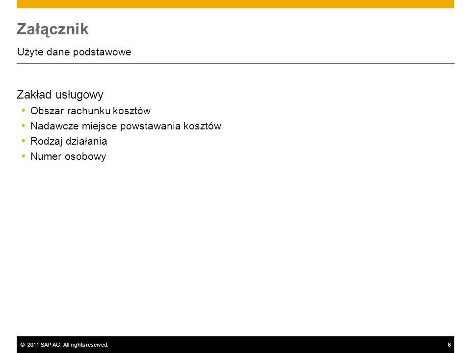 ©2011 SAP AG. All rights reserved.6 Załącznik Użyte dane podstawowe Zakład usługowy Obszar rachunku kosztów Nadawcze miejsce powstawania kosztów Rodza