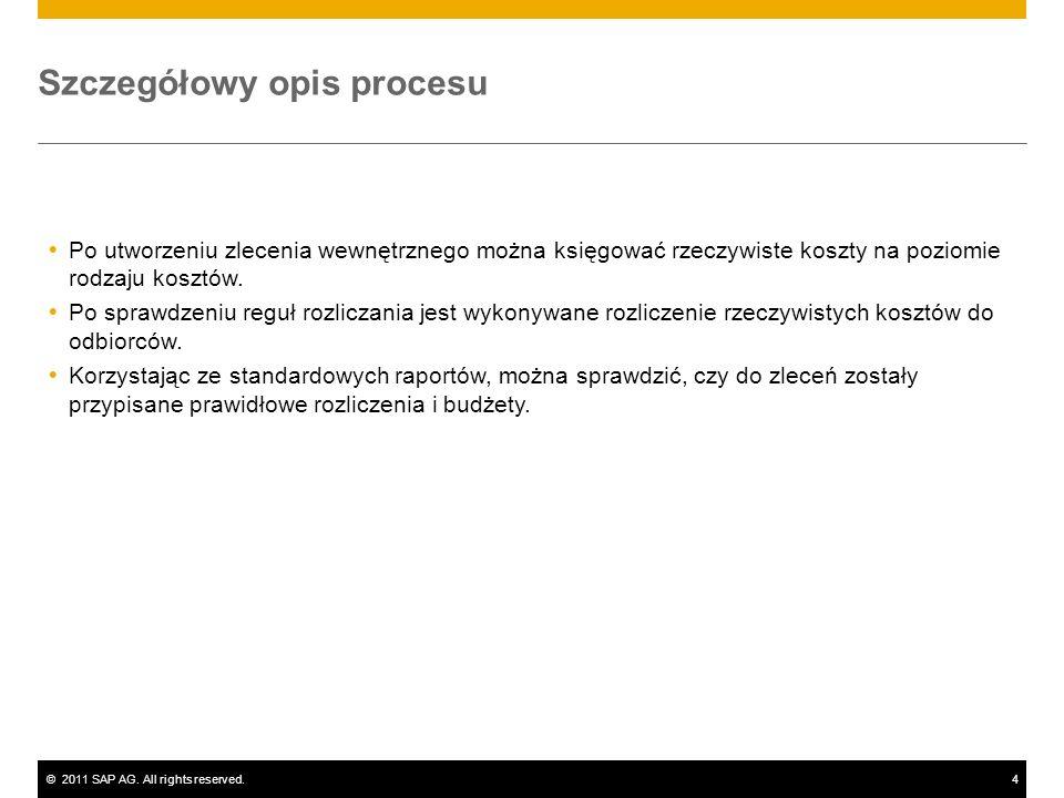 ©2011 SAP AG. All rights reserved.4 Szczegółowy opis procesu Po utworzeniu zlecenia wewnętrznego można księgować rzeczywiste koszty na poziomie rodzaj