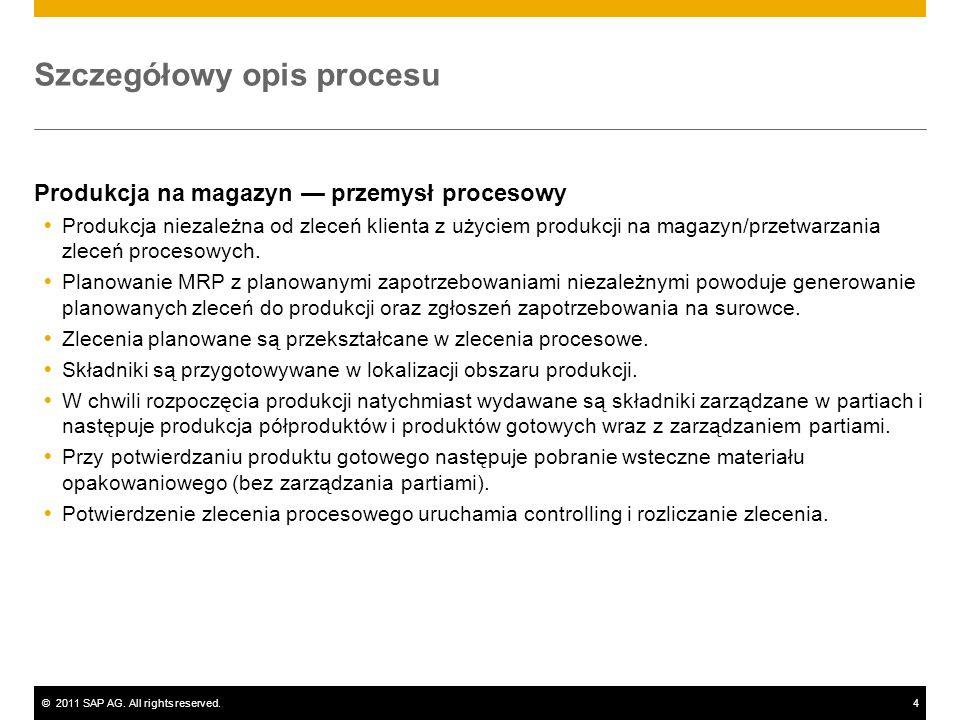 ©2011 SAP AG. All rights reserved.4 Szczegółowy opis procesu Produkcja na magazyn przemysł procesowy Produkcja niezależna od zleceń klienta z użyciem