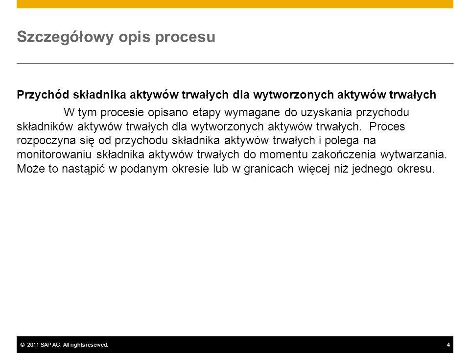 ©2011 SAP AG. All rights reserved.4 Szczegółowy opis procesu Przychód składnika aktywów trwałych dla wytworzonych aktywów trwałych W tym procesie opis