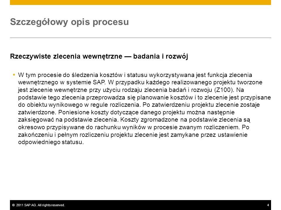 ©2011 SAP AG. All rights reserved.4 Szczegółowy opis procesu Rzeczywiste zlecenia wewnętrzne badania i rozwój W tym procesie do śledzenia kosztów i st