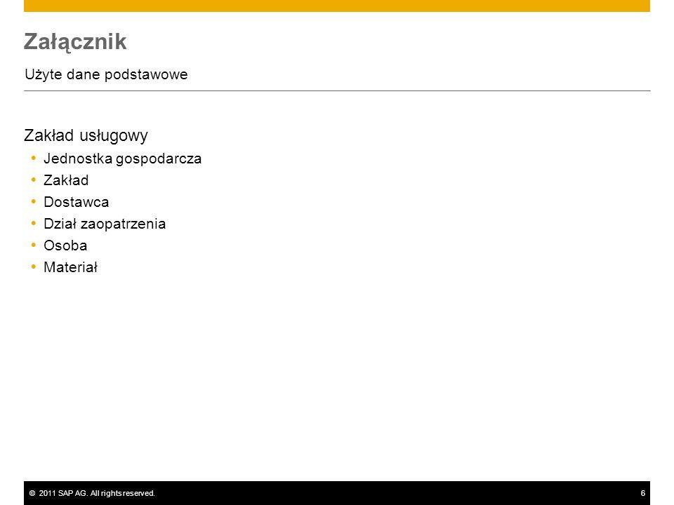 ©2011 SAP AG. All rights reserved.6 Załącznik Użyte dane podstawowe Zakład usługowy Jednostka gospodarcza Zakład Dostawca Dział zaopatrzenia Osoba Mat