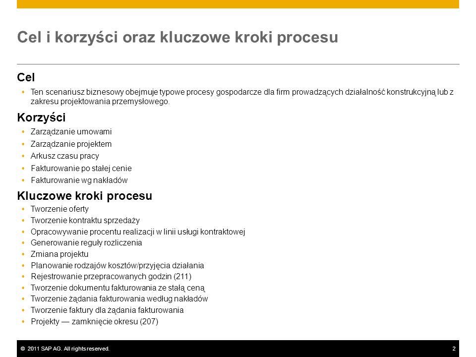 ©2011 SAP AG. All rights reserved.2 Cel i korzyści oraz kluczowe kroki procesu Cel Ten scenariusz biznesowy obejmuje typowe procesy gospodarcze dla fi