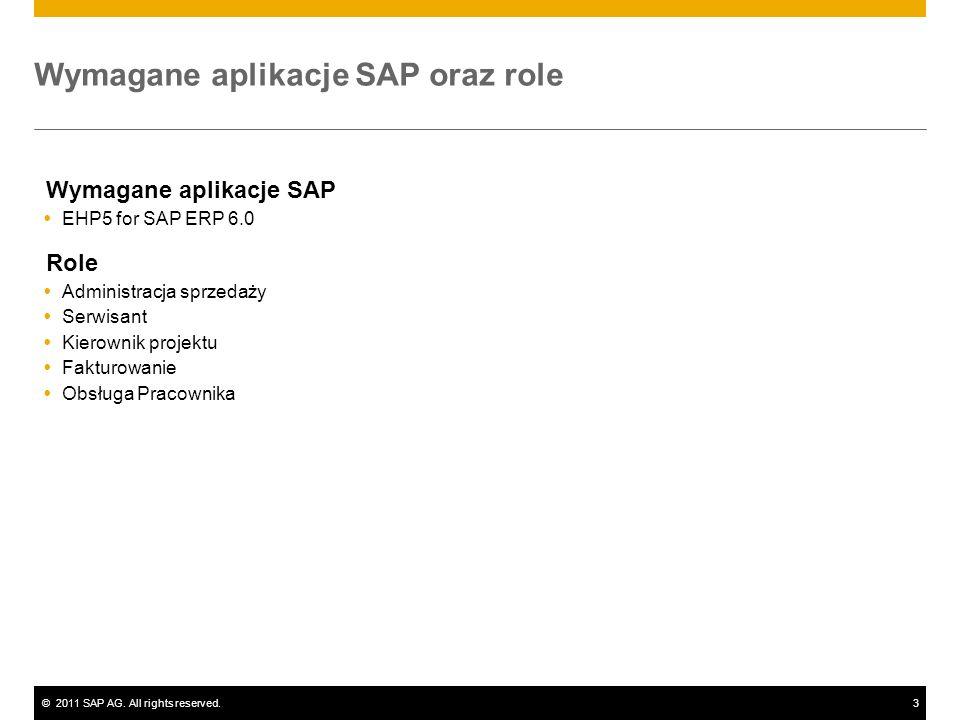 ©2011 SAP AG. All rights reserved.3 Wymagane aplikacje SAP oraz role Wymagane aplikacje SAP EHP5 for SAP ERP 6.0 Role Administracja sprzedaży Serwisan