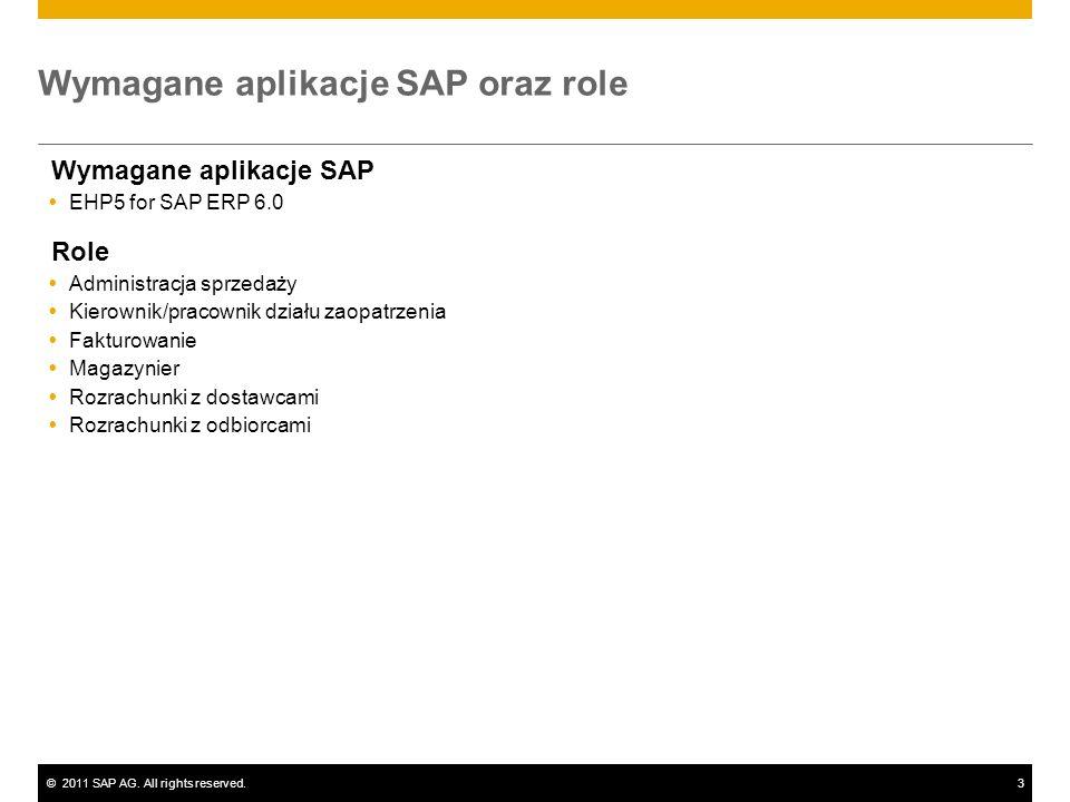 ©2011 SAP AG. All rights reserved.3 Wymagane aplikacje SAP oraz role Wymagane aplikacje SAP EHP5 for SAP ERP 6.0 Role Administracja sprzedaży Kierowni